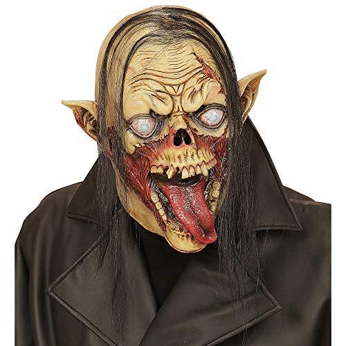 Widmann 00509 - Maske Vampirzombie mit Haar für Erwachsene Vampir Halloween-maske