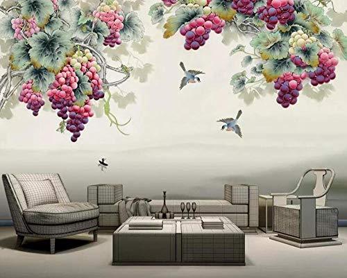 3D Vliestapete Fototapete Tapetenmalereien Chinesischen Stil Stift Handbemalt Lila Duft Trauben Tv Hintergrund Wandmalerei 3D Wallpaper @ 350 * 245 -