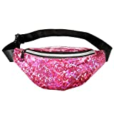 CHIC DIARY Shiny Fanny Pack for Rave Festival Travel Waist Pack Holographic Bum Bag (Rose)