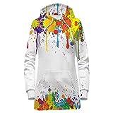 Bfustyle Damen Hoodie Kleid Teen Mädchen Damen Langarm Kapuzenpullover Sweatshirt Kleid in 3D Gedruckte Farbe weiß L