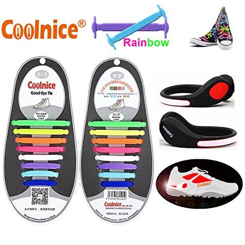 Coolnice® Cordones Elásticos para adultos con las luces LED de recorte - luces rojas para Adultos - Silicon Deportes elásticos Shoelaces del arco iris