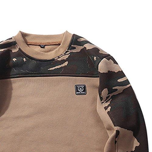 JOLIME Herren Sweatshirt Pullover Tarnung Warm Basic Pulli Sweats mit Rundhalsausschnitt Khaki