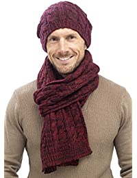 RJM Mens Warm Stylish Cable Knit Slouch Beanie Hat & Scarf (Maroon Set)