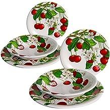 SUPER OFFERTA PRIMAVERA :- CONFEZ. DA 6 PIATTI DECORATI/Pz. 2 piatto piano cm 26. Pz. 2 piatto fondo cm 21. Pz. 2 piatto frutta cm 20. Piatti da tavola in ceramica bianca, decoro Cherry