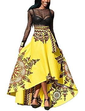 Las Mujeres De Africa Ethnic Floral Print Alta Baja Cintura Falda Bottoms Tie Swing