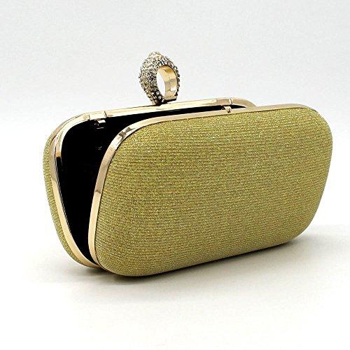 Shiratori Donna Borsa Strass A Forma Di Cuscino, Borsa Da Sera, Oro Zecchino