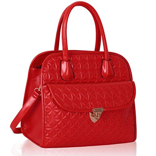 Zarla-Borsa a tracolla in finta pelle, da donna, con tracolla e tasca grande sulla parte anteriore Rosso (rosso)