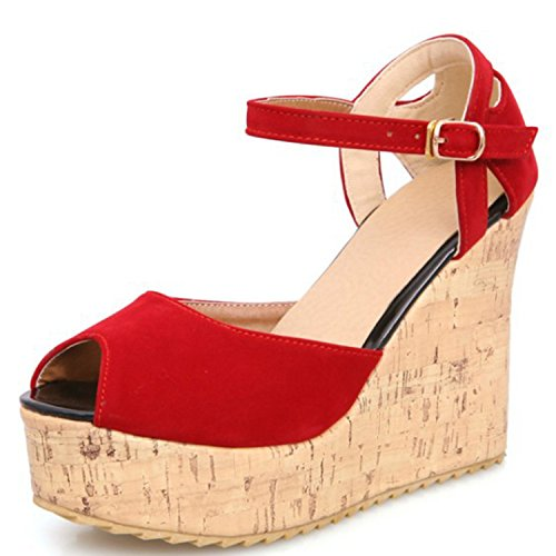 Azbro Women's Peep Toe Platform Wedge Heels Ankle Strap Sandals Red