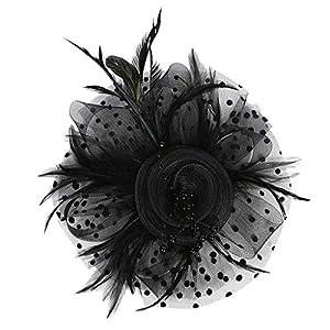 Baoblaze Elegante Damen Braut Hochzeit Feder Haarschmuck Fascinator Schleier Haarreif Haar Clip Stirnband Kopfbedeckung