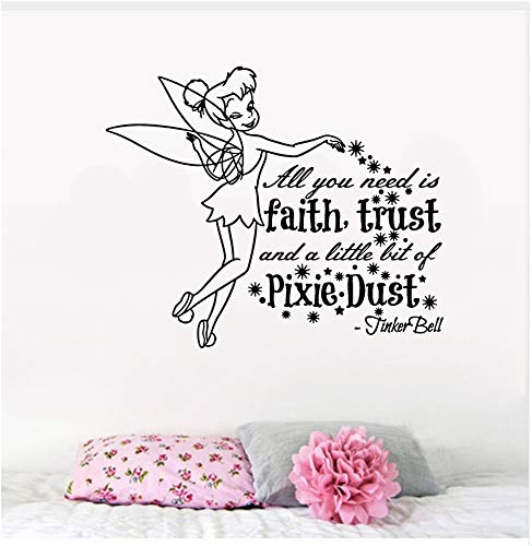 Tinkerbell Wandtattoo Tinkerbell Tink Faith Trust und Pixie Dust Hibiscus Vinyl Auto Wandtattoo Aufkleber Kinderzimmer Wanddekoration (Die Pixies Vinyl)