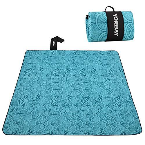 Yorbay Picknickdecke 200 x 200 cm XXL Fleece wasserdicht Decke mit Tragegriff (Blaue Feder)