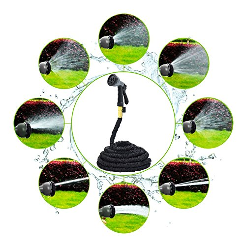 Black 100FT Stronger Double Latex Inner Tube Prevent Leaking Strongest Expandable Solid Brass (With Valve) Garden Hose with Extra Strength Fabric and Professional Spray Gun Tap to Pressure Washer Suitable