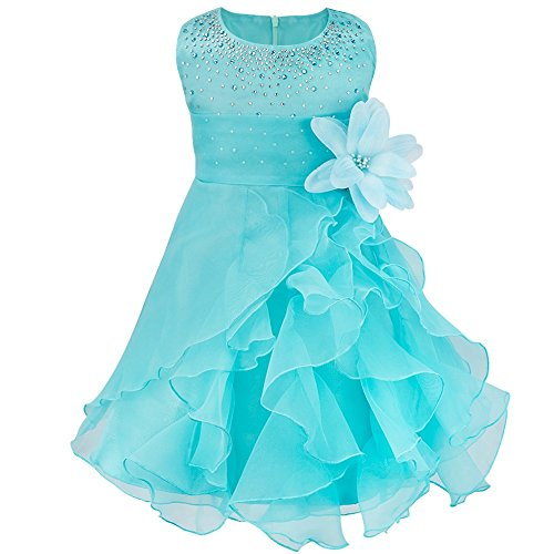 Iiniim – Vestito senza maniche a cascata, in organza, decorato con strass, per neonata e bambina, per (Costumi Birthday Party Dress)