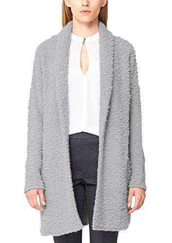 s.Oliver BLACK LABEL Damen Strickjacke Bouclé, Einfarbig, Gr. 40, Grau (grey day 9120)