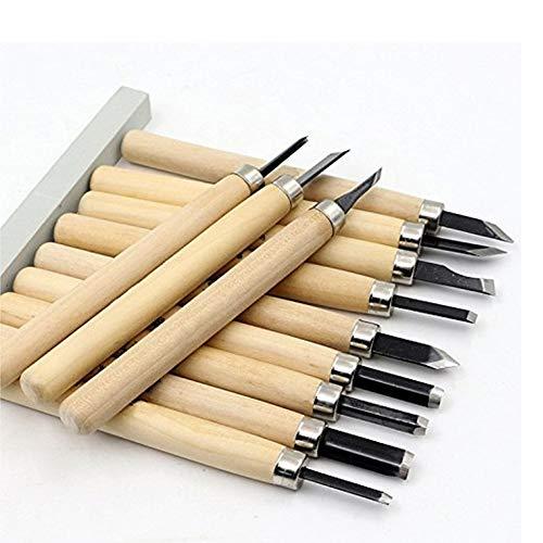 12 Set SK5 Carbon Steel Wax & Wood Carving Tools Knife Kit mit Wetzstein und für Kids & Anfänger mit wiederverwendbarem Pouch