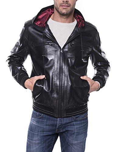 Giorgio Bernardi da uomo giacca in pelle con cappuccio in vera pelle biker lässig nero M