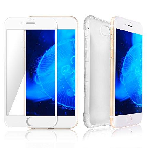 Custodia iPhone 7 Chiaro Giallo & Protezione Schermo Bianco SWISS-QA, Migliore Cover Invisibile per Apple Phone di Alta Qualità Antiscivolo Ergonomica - Nuova Tecnologia Bumper per Evitare la Rottura