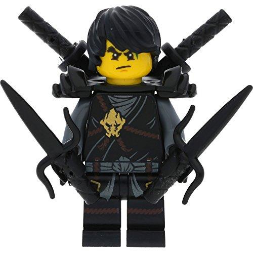 LEGO Ninjago Minifigur Cole Scabbard (schwarzer Ninja) incl. 4 GALAXYARMS Schwertern