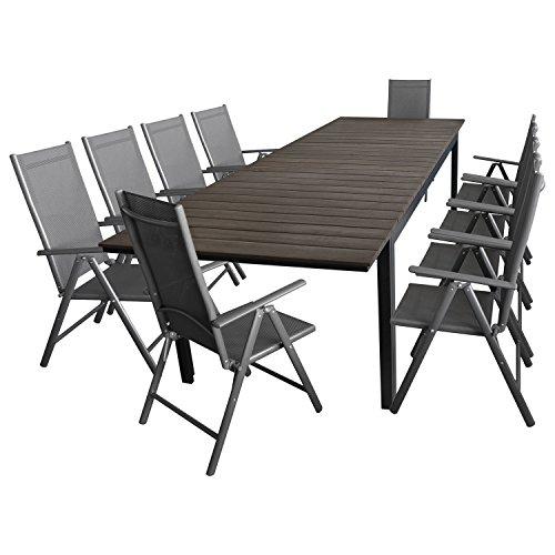 Multistore 2002 11tlg. Gartengarnitur Aluminium Polywood ausziehbarer Gartentisch 280/220x95cm + 10x Gartenstuhl mit 2x2 Textilenbespannung Sitzgarnitur Sitzgruppe