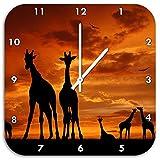Afrika Giraffen im Sonnenuntergang, Wanduhr Quadratisch Durchmesser 48cm mit weißen spitzen Zeigern und Ziffernblatt, Dekoartikel, Designuhr, Aluverbund sehr schön für Wohnzimmer, Kinderzimmer, Arbeitszimmer