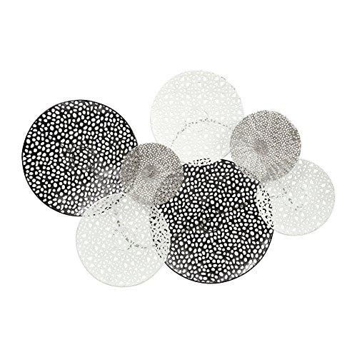 Ostaria Wanddekoration Gitter, Metall, Silber, weiß und schwarz, 73.6x 8x 49.5cm