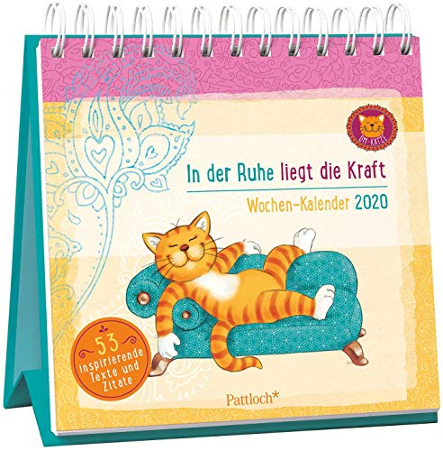 Om-Katze: In der Ruhe liegt die Kraft - Wochen-Kalender 2020: zum Aufstellen m. Illustrationen u. Zitaten, inspirierende Texte auf d. Rückseiten, Spiralbindung, 16,6 x 15,8 cm (Tischkalender Katzen)