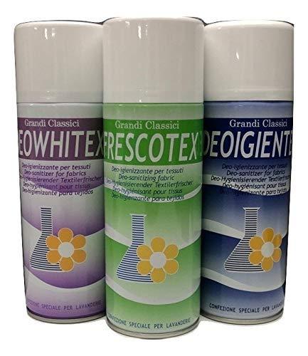 Rampi Deodorante Spray salvatessuti mangiaodori Set 3 bombolette: Deo Whitex, Igientex, Frescotex i Grandi Classici Igiensoft igienizzante tarme per Tessuti, Tende, Scarpe, Auto ECC.