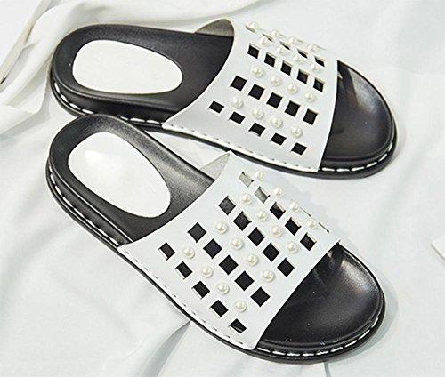 La plage mot été femelle drag sandales femmes muffins plat sandales à bout ouvert Mme White