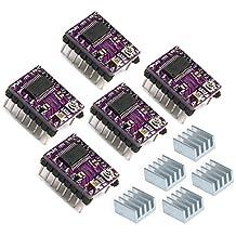 Geeetech Stepstick 4 strati DRV8825, modulo driver motore passo-passo, con dissipatore e adesivo per stampanti 3D, Reprap RP A4988, confezione da 5 pezzi