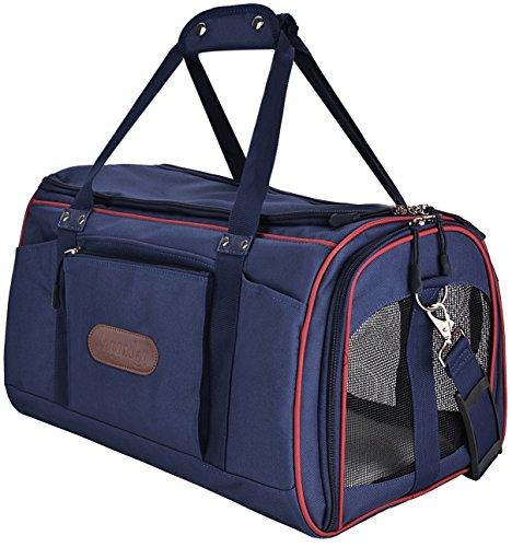 Transporttasche Katze, Legendog Soft Airline Genehmigt Transportbox für Katzen Faltbar Modische Leichte Katzenbox Reisetasche Tasche mit Fleece Matte für Große Tiere Katzen Kleine Hunde 51*32*33 CM