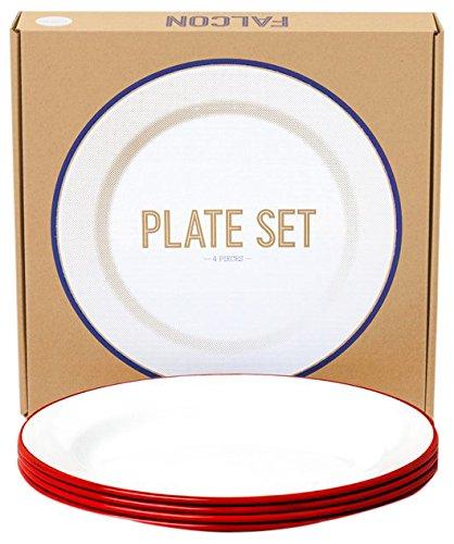 Falcon Enamelware Teller-Set 4-teilig :: Red-White :: Plate Set (Falcon-sets)
