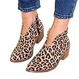 Tomwell Boots Femme Imprimé Léopard Bottine Femmes Basse Plates Daim Bottes Talon Chic Compensées Grande Taille Chaussures Léopard 37 EU