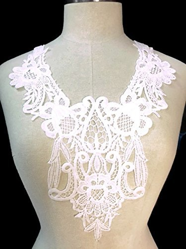 2 Pieces Large Floral Victorian Applique Yoke Lace,Off White, 10.5x14.5 by Amore Lace and Fabrics White Lace Floral Applique