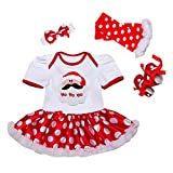 4PCS Neonate mio primo Natale costume della Santa del partito del vestito, 3-6 mesi