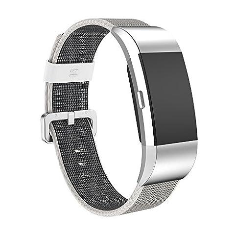 Fitbit Charge 2Sangle, Weant Fb125Nouvelle version Sports Royal en nylon tissé Bracelet Strap Band pour Fitbit Charge 2Smart Watch, Homme Enfant femme, gris
