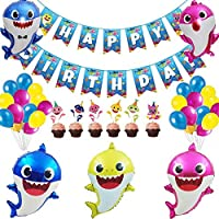 42pcs Children Shark Baby Theme Birthday Party Decoration Set Baby Shark Ocean Shark Balloon