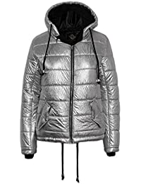Candy Floss New Ladies Hooded Metallic Foil Hooded Womens Bubble Winter Jacket Coat Outerwear Padded Puffer