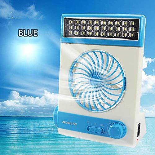 QTRT Solar Fan Camping Kühlung Tischventilatoren Multifunktions Mit Augenpflege LED Tischlampe Taschenlampe Solar Panel Adapter Stecker für den Heimgebrauch (Lüfter + LED Tischlampe + LED Taschenlampe