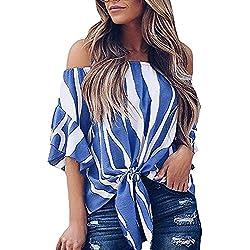 Blusas para Mujer,Camisas Rayas Mujer del Hombro Cintura Corbata Blusa Manga Corta Camisetas Casuales Tops Camisas de Mujer Elegantes de Fiesta (Azul A, S)