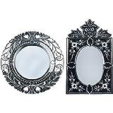 MADHUSUDAN GLASS WORKS Mirror & Plywood Wall Mirror (Pack Of 2, Silver) - B07BJ4QC8J