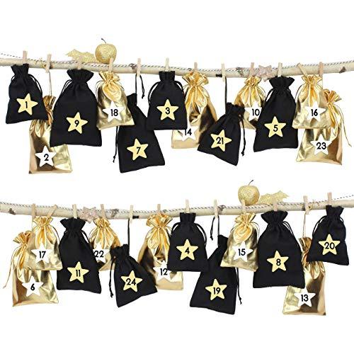 Papierdrachen 24 Adventskalender Stoffsäckchen zum Befüllen - schwarz Gold - mit Bäkergarn und Klammern - Stoffbeutel zum selber Dekorieren - Geschenksäckchen -