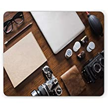 Indie Mouse Pad, Professional Set Up for Photographers Designers Work Place Equipment on Table,