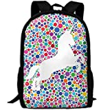 HOJJP HandtascheMost Durable Lightweight Casual Travel Water Resistant School Backpack - Unicorn Rainbow