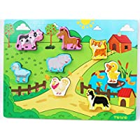 Toys of Wood Oxford Wooden Chunky Puzzle Board for Toddlers - Anmials Puzzle Board Transport Puzzle Board for 18 month plus