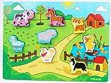 Toys of Wood Oxford Puzzle di Animali in Legno - Fattoria Stile Shinnington con Animali - Pezzi del Puzzle con Dimensioni Grandi - Puzzle in Legno per Bambini di 18 Mesi