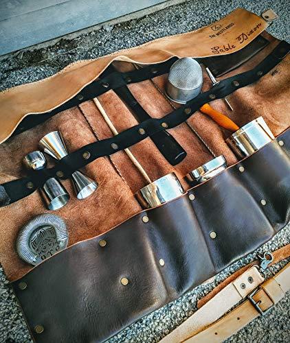Barman Börse Handgefertigte Leder Erste Blume Barkeeper Made in Italy Bar Werkzeughalter Werkzeuge Haft Rolle Die Haut Westlands -