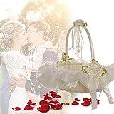 Beimaji - Cesta de flores de bambú para boda, diseño romántico de doble fila