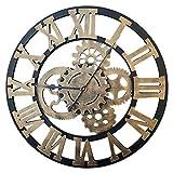 PHYNEDI Horloge Murale Diamètre 60 cm Horloge Engrenage Décoratif Grande Horloge Pendule Murale en Bois, Gold