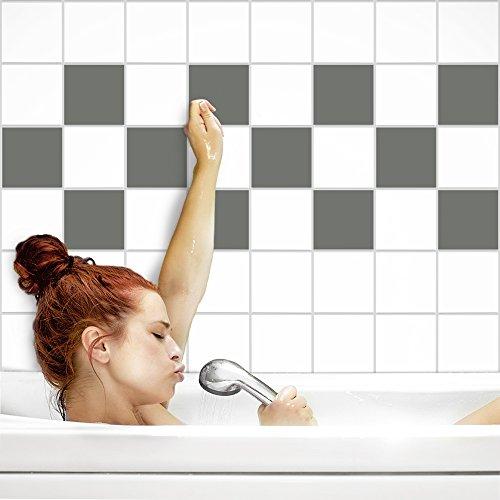 Fliesenaufkleber für Küche und Bad | Fliesenfolie für 15x20cm Fliesen | einfarbig grau matt | 12 Stück | Klebefliesen günstig in 1A Qualität von PrintYourHome