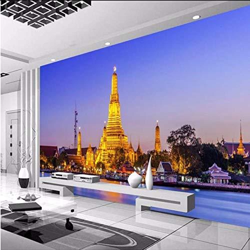 3D Wandbild Benutzerdefinierte 3D Fototapete Thai Palace Jinta Tv Hintergrund Dekoration Wohnzimmer Schlafzimmer 3D Wandbilder Tapete Kunst-200X140cm